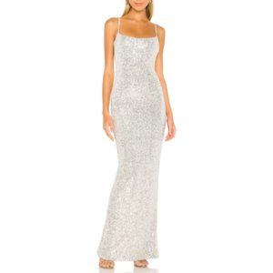 NEW NWT Nookie Lovers Nothings Sequin Gown Silver